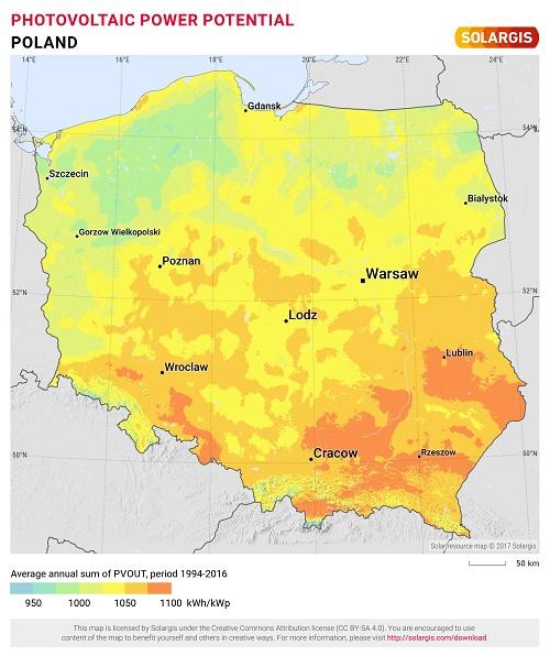 mapa nasłonecznienia w Polsce - wydajność fotowoltaiki w Polsce