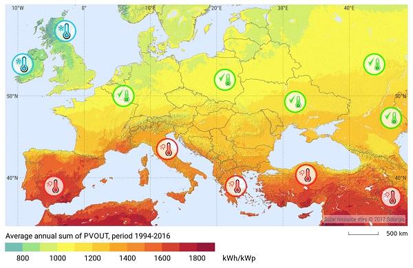 potencjał fotowoltaiki w Europie - wydajność fotowoltaiki w Polsce