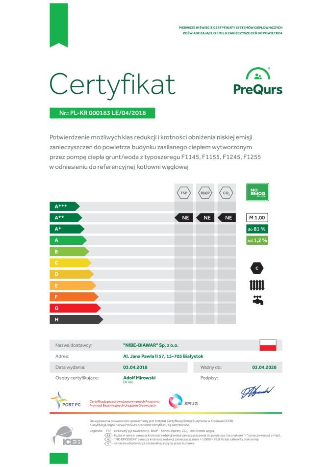 certyfikat NIBE